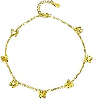 joyer/ía para mujer Aleaci/ón accesorios de regalo Topdo Tobillera hueca de oro rosa con doble fleco dise/ño de mariposa 26cm+5cm oro rosa