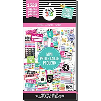 me & my BIG ideas Sticker Value Pack for Mini Planner - The Happy Planner Scrapbooking Supplies - Mom Theme - Multi-Color & Gold Foil - Great for Projects & Albums - 30 Sheets 1529 Stickers Total
