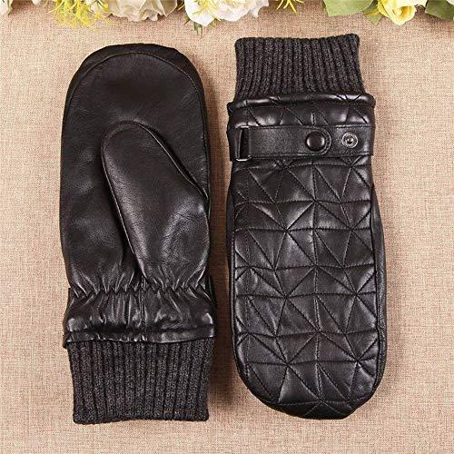 L.L.QYL Winterhandschuhe Frauen-echte Leder-Handschuhe Herbst Winter Plus Velvet verdicken Lammfell Finger Driving Fäustlinge (Color : Schwarz, Gloves Size : S)