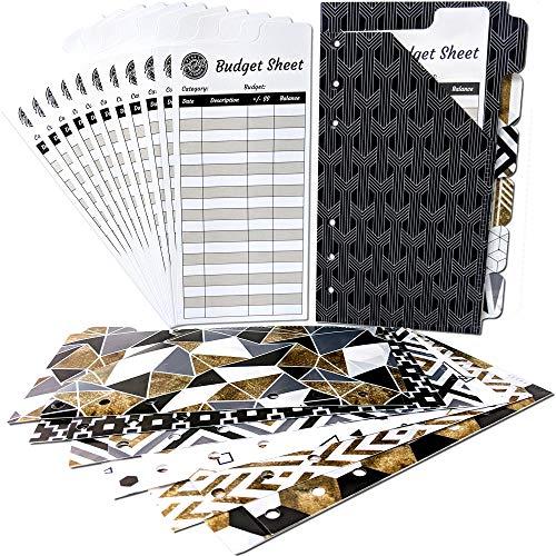 Vertical Tabbed Plastic Budget Envelopes for Budget Planner Organizer Wallet - Cash Envelopes, Budget Sheets for Cash Envelope System Wallet, Coupon Organizer, Financial Planner, Cash Envelope Wallet