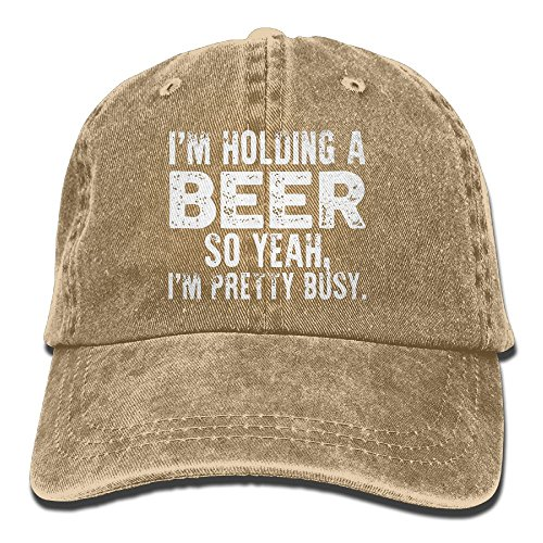 I'm Holding A Beer So Yeah I'm Pretty Busy Retro Washed Dyed Adjustable Plain Cowboy Cap ?- Yellow
