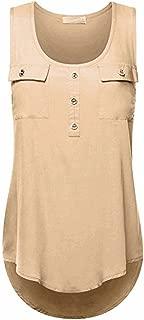 FAPIZI Chest Irregular Women Tank Tops Summer Sleeveless O-Neck Vest Casual Loose Blouse Plus Size