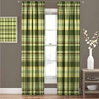 Olive Green Insulated Soundproof Curtain Panels Quilt Pattern Traditional Scottish Design Checkered Geometrical Room Darkening Curtains for Living Room W120 x L108 Inch Dark Green Yellow Brown