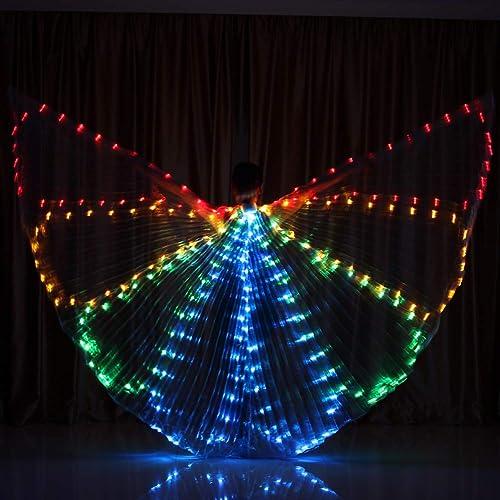 AISHUAIGE Ailes de Danse du Ventre Adulte à la Manière des Abeilles LED Ailes de Danse Rougeoyantes 360 Degrés Grandes Ailes Accessoires de Danse Lumière Couleurée