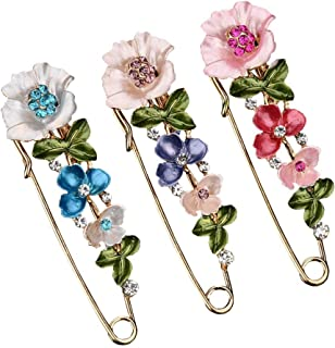 Joyci 3 Pieces Crystal Flower Butterfly Brooch Pins Decorative Clip Safety Pin Clasp for Women Wedding Scarves Shawl Cardigan Buckle
