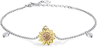 Birthday Sunflower Flower Necklace Anklet Earrings Ring - S925 Sterling Silver Jewelry Heart Pendant For Women Girls You Are My Sunshine I Love You