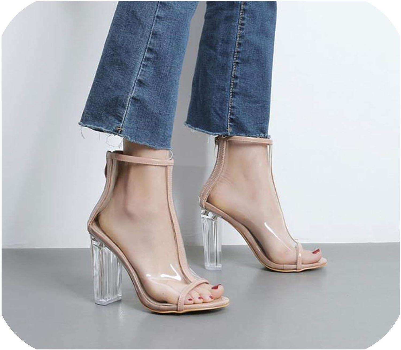 Roman Women Pumps Zipper High Heels Summer PVC Transparent Crystal Sandals Solid color Party shoes