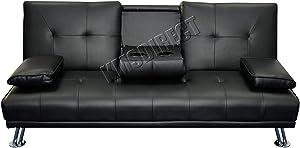 Westwood Manhattan sofá Cama de Piel sintética sillón reclinable 3plazas mobiliario Moderno diseño de Lujo Doble Copa Holder Negro