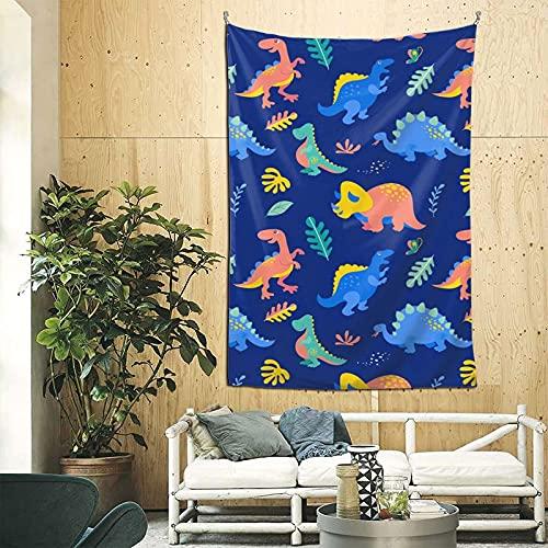 Tapiz estético para dormitorio con diseño de dinosaurio, azul, amarillo, lindo, para colgar en la pared, tapiz de dinosaurio, 200 x 150 cm