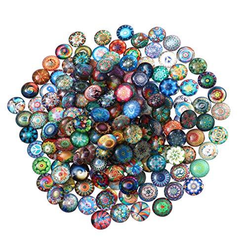 ultnice 200Stück Rund Glas Mosaik Fliesen Mosaik Glas Stück gemischt für DIY Handwerk Schmuckherstellung 10mm