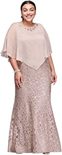 Long Lace Plus Size Mother of Bride/Groom Dress with Beaded Capelet Style 3523DW