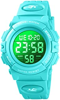 Kids Digital Sport Watch Boys Waterproof Casual Electronic Analog Quartz 7 Colorful Led Watches with Alarm Wrist Watches for Boy Girls Children Blue