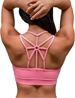 Women's Padded Sports Bra Cross Back Medium Support Workout Running Yoga Bra