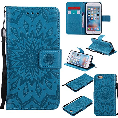 Phone Protective Case for iPhone 6,iPhone 6S Case Leather Wallet,Gostyle Sun Flower Pattern Embossed Stand Feature PU Flip Cover Magnetic Closure with Card Slots Holder and Lanyard Strap(Blue)