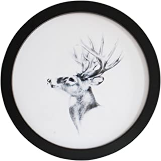 Levoberg Round Photo Frame Wooden Wall Mounted Stylish Picture Frame Home Decor Black 7 inch