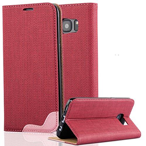 Cadorabo Samsung Galaxy S7 Edge Funda de Cuero Sintético Rafia en Pinky Rojo Cubierta Protectora Estilo Libro con Cierre Magnético, Tarjetero y Función de Suporte Etui Case Cover Carcasa