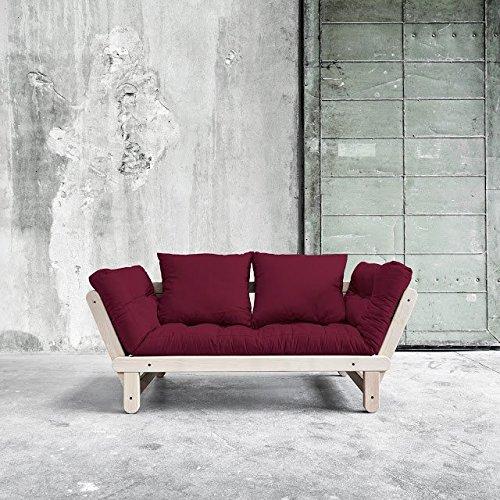 VivereZen - Divano letto futon Beat Beech - Zen (Faggio) Struttura non verniciata + futon colorato e due cuscini