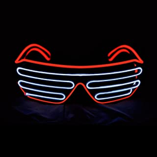 Aquat Light Up Shutter LED Neon Rave Glasses El Wire DJ Flashing Sunglasses Glow Costumes Voice Activated For 80s, EDM, Party (Red/White, Black Frame)