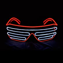 PINFOX Shutter El Wire Neon Rave Glasses Flashing LED Sunglasses Light Up Costumes for 80s, EDM, Party RB03 (Red + White)