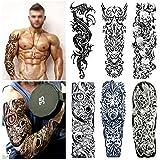 Full Arm temporäre Tattoos, Konsait extra temporär Tätowierung schwarz Klebe Tattoo Körperkunst...