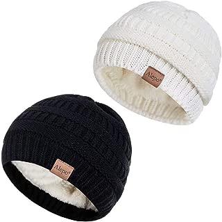 Alepo Fleece Lined Baby Beanie Hat, Infant Newborn Toddler Kids Winter Warm Knit Cap for Boys Girls