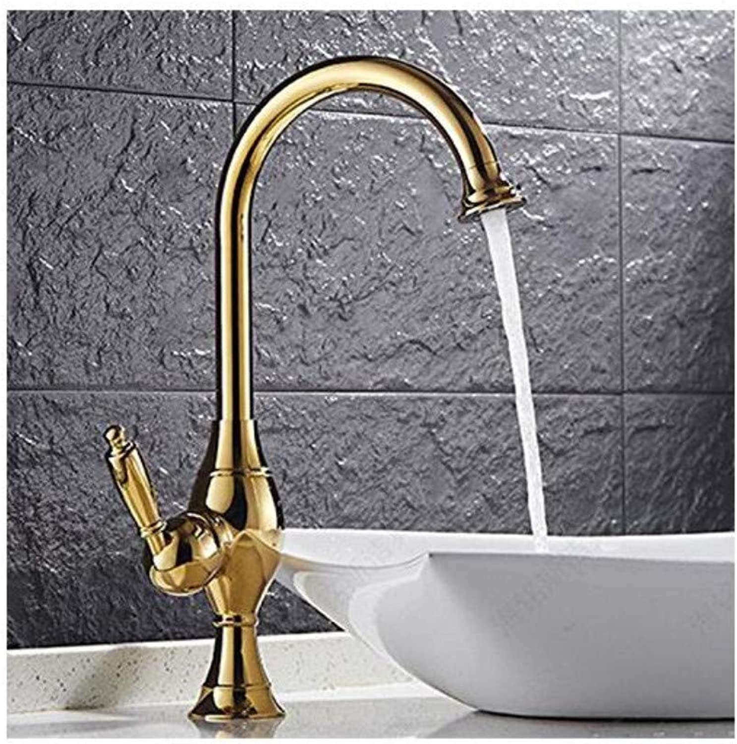 Vintage Plated Mixer Faucet Single Handle Brass Kitchen Sink Mixer Tap of Hot Cold Kitchen Water Tap