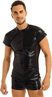Men's Wet Look Patent Leather Zipper Clubwear Catsuit Jumpsuit Costumes