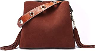 Runhuayou New Fashion Unsubdivided Scrub Multi-Function Bundle Bill Shoulder Slung Leather Handbag Great for Casual or Many Other Occasions Such (Color : Brown)