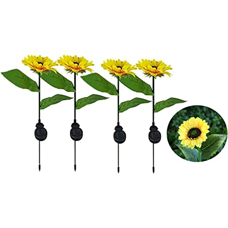 Solar Sunflowers Lights - 4Pack Solar Sunflowers Outdoor Lights ,Solar Landscape Path Lights ,Outdoor Waterproof Solar Garden Lights Decorative Stake for Court Yard, Front , Patio, Balcony