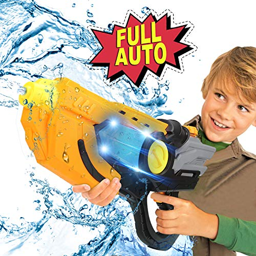 Electric Water Gun Squirt Guns Fully Automatic Water Blaster with Led Light High Capacity Long Range Waterproof Battery Cover for Kids Adult for Pool Party Outdoor Beach Water Fighting (Black)