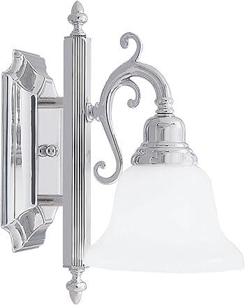 Livex Lighting 1281?–?05?Bath Vanity Withホワイトアラバスターガラスシェード、クロム