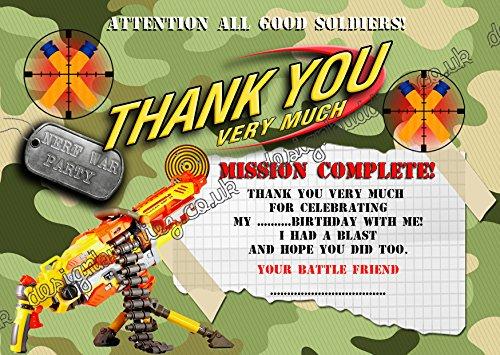 design buddies Army/battle field oorlog/Army Birthday Party DANK YOU CARDS voor jongens pak van 10 + Enveloppen DS22