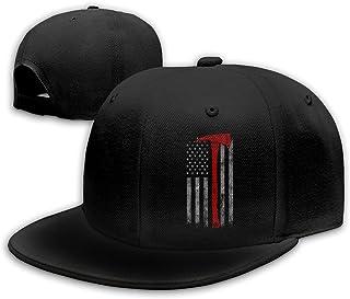 American Flag Firefighter Snapback Flat Bill Baseball Cap Mens Black