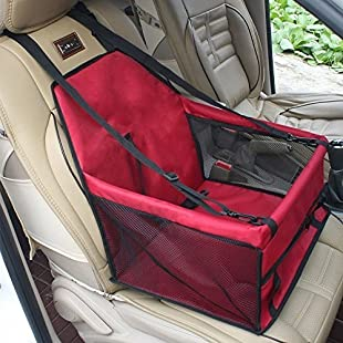 Customer reviews Pet Car Booster Seat Breathable Waterproof Pet Dog Car Supplies Travel Pet Car Carrier Bag Seat Protector Cover with Safety Leash for Small Dogs Cats Puppy