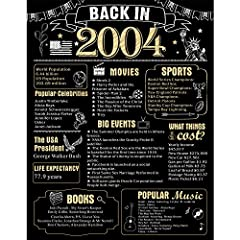【16th Party Decoration】: Take a look back in 2004,This 16 Years Ago poster makes a great conversation starter! Featuring historical facts from 2004, attract more families or guests to join in the fun with you, great gift or decoration for 16th birthd...