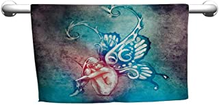 flybeek Floral Hand Towels Butterflies Decorations,Fairy with Butterfly Wings Renewal Female Rebirth Psyche Lightness of Being,Blue Purple,Towel bar for Glass Shower Door