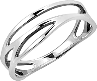 Modern Open Lines Wave Band Sterling Silver Ring