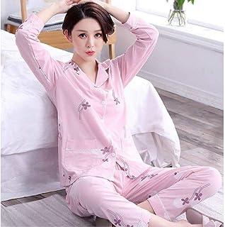 EBZP Conjunto de Pijamas de otoño para Mujer, Conjunto de Pijamas de Estilo Fresco de algodón Puro, Pijamas con Cuello Redondo, Pijamas para Mujer, Ropa de casa Informal para Mujer