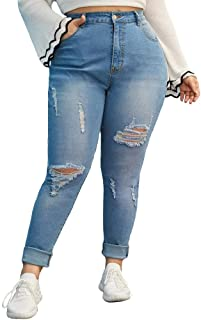 Lookvv Fashion Women/'s Distressed Ripped Butt Lifting Skinny Jeans Stretchy Cut Up Casual Denim Pants