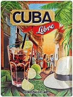 Nostalgic Art Open Bar – Cuba Libre – Geschenk-Idee für Cocktail-Fans Blechschild, Metall, Bunt, 30 x 40 cm