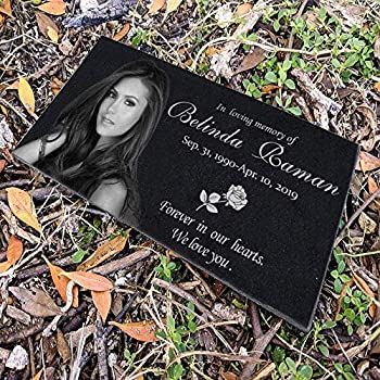 12x6 inches Personalized Human Memorial Stones Black Granite Memorial Garden Stone Engraved with Human s Photo Gifts for Someone Who Lost a Loved One or Pet Dog Cat