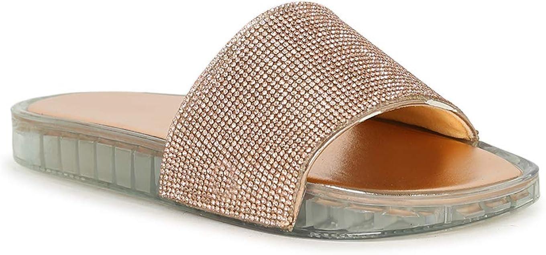 Alrisco Women's Jelly Rhinestone Metallic Open Toe Slide Sandal SG31 - Rose Gold Metallic (Size: 7.0)