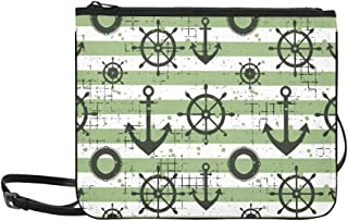 Vintage Anchor Steering Wheel Life Preserver Pattern Custom High-grade Nylon Slim Clutch Bag Cross-body Bag Shoulder Bag