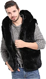 Men Faux Fur Vest Jacket Sleeveless Body Warm Coat Hooded Waistcoat
