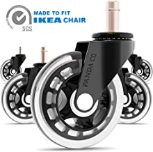 PANDA CO. Office Chair Wheels - Pack of 5 - Compatible with IKEA Chair - Rollerblade Style 3 Inch Casters, Heavy Duty, Quiet and Safe for All Floors Including Hardwood, Replacement for Chair Mat