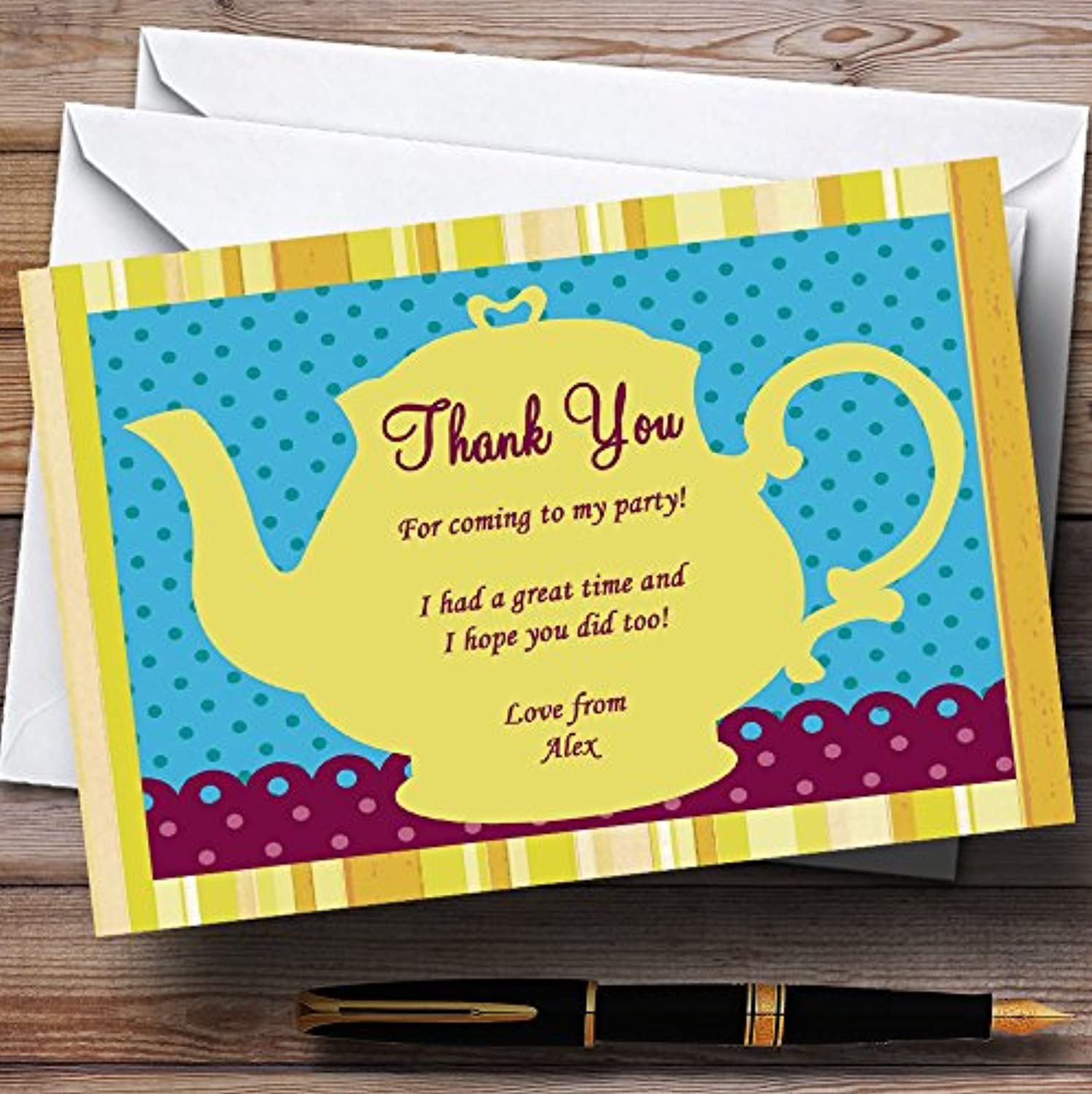 Big Yellow Teapot Vintage Tea Personalised Birthday Party Thank You Cards