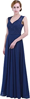 iEFiEL Women Floral Lace V Neck Chiffon Bridesmaid Dress Evening Prom Long Gown
