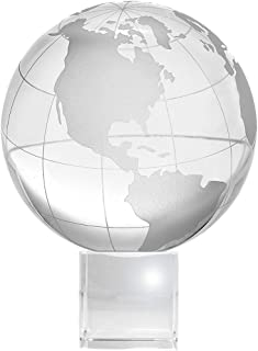 Amlong Crystal Globe (3 inch Diameter) on Crystal Stand with Gift Box - 4.75 Inch Tall