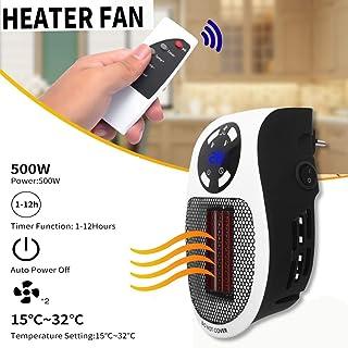 Mini Portatil Estufa Eléctrica Calefactor Cerámicos Handy Heater 500W Bajo Consumo SilenciosoTemperatura Regulable,Temporizador, Calefacción de Pared Termoventilador para Oficina/Casa/Garaje/Camper