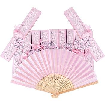 AONER 20pcs Abanico Rosa de Boda Plegable de Mano Tela Regalo Recuerdo Detalle para Invitados de Boda Fiesta o Baile Arte Madera con Caja Papel para Guardar (Abanico Rosa + Caja Rosa):